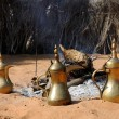Fireplace and Arabic Coffee Pots in Abu Dhabi — Stock Photo #7792412