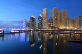 Dubai Marina at dusk. Dubai, United Arab Emirates — Stock Photo