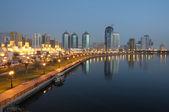 Sharjah City at dusk. United Arab Emirates — Stock Photo