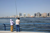 Fishermen at Dubai Creek — Foto Stock