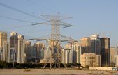 Power Pole and Skyline of Dubai, United Arab Emirates — Stock Photo