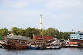 Dhows at Sharjah Creek — Stock Photo