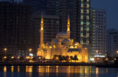 Al Noor Mosque in Sharjah City at night — Stock Photo