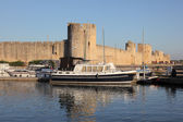 Marina at the ramparts of Aigues-Mortes, southern France — Stock Photo