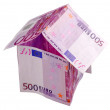 Money house made from 500 Euro banknotes — Stock Photo