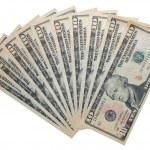 白い背景で隔離された 10 ドル紙幣 — ストック写真