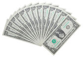 One dollar notes isolated over white — Stock Photo