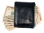 Black leather wallet with ten dollar notes — Stock Photo