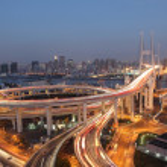 Nanpu Bridge at night. Shanghai, China — Stock Photo