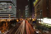 Street in Pudong at night, Shanghai China — Stock Photo