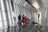 Tourists inside of the Observation Deck of the Shanghai World Financial Cen — Stock Photo