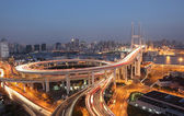 Nanpu Bridge at night. Shanghai, China — Stock Photo
