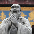 Statue of Confucius at Confucian Temple in Shanghai, China - Stock Photo