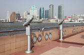 Shanghai Skyline from Pudong Promenade — Stock Photo