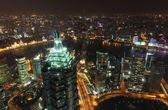 Aerial view over the megacity Shanghai at night — Stock Photo