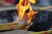 Burning Incense Sticks at Buddhist temple in China — Stock Photo