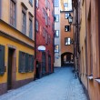 Narrow street in GamlStan, Stockholm — Stock Photo #7201582