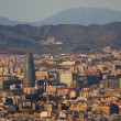 Panoramic view of Barcelona from Parc de Montjuic - Stock Photo