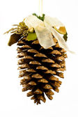 Christmas decoration cone on a white background — Stock Photo