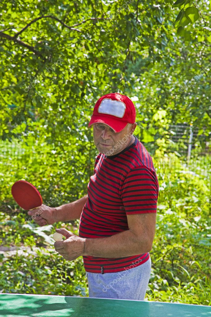 Man play tennis outdoor in summer — Stock Photo #6864960