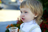Baby drinks water — Stock Photo