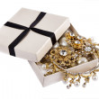 Casket with Jewelry on a white background — Stock Photo