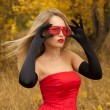 Stock Photo: Beautiful woman in red dress