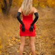Rear view of pretty young girl in red dress in autumn wood — Stock Photo