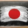 Flag of Japan on blackboard painted with chalk — Stok fotoğraf