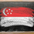 Stock Photo: Flag of Singapore on blackboard painted with chalk