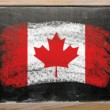 Flag of Canada on blackboard painted with chalk — 图库照片