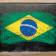 Flag of Brazil on blackboard painted with chalk — Stock Photo