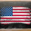 Flag of USA on blackboard painted with chalk — Stock Photo