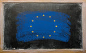 Flag of EU on blackboard painted with chalk — Stock Photo