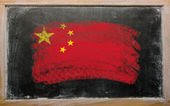 Flag of China on blackboard painted with chalk — Foto Stock
