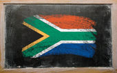 Flag of South Africa on blackboard painted with chalk — Stock Photo