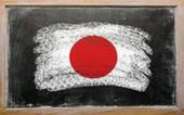 Flag of Japan on blackboard painted with chalk — ストック写真