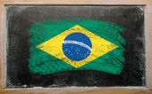 国旗巴西的黑板上用粉笔绘 — 图库照片