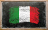Flag of Italy on blackboard painted with chalk — Stock Photo
