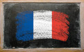 Flag of France on blackboard painted with chalk — Stock Photo