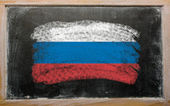 Flag of Russia on blackboard painted with chalk — Stock Photo