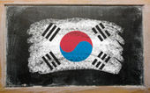 Flag of South Korea on blackboard painted with chalk — Stock Photo
