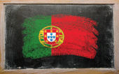 Flag of Portugal on blackboard painted with chalk — Stock Photo