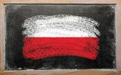 Bandera de polonia en pizarra pintada con tiza — Foto de Stock