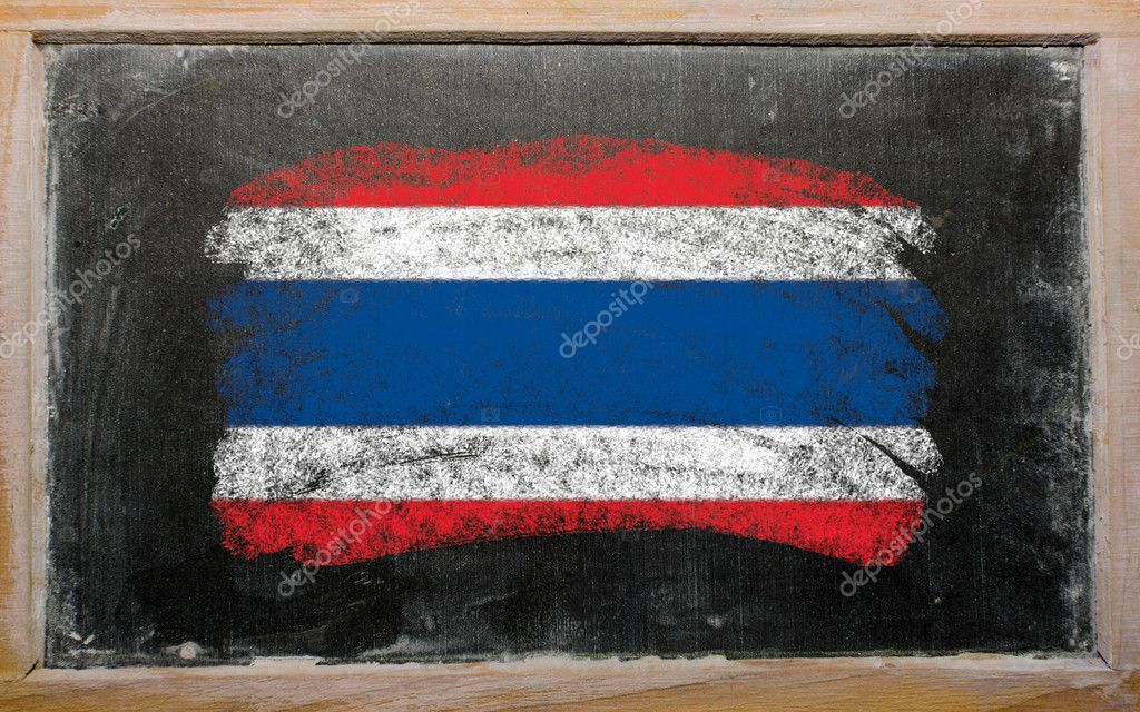 Chalky thailand flag painted with color chalk on old blackboard — Stock Photo #6835272