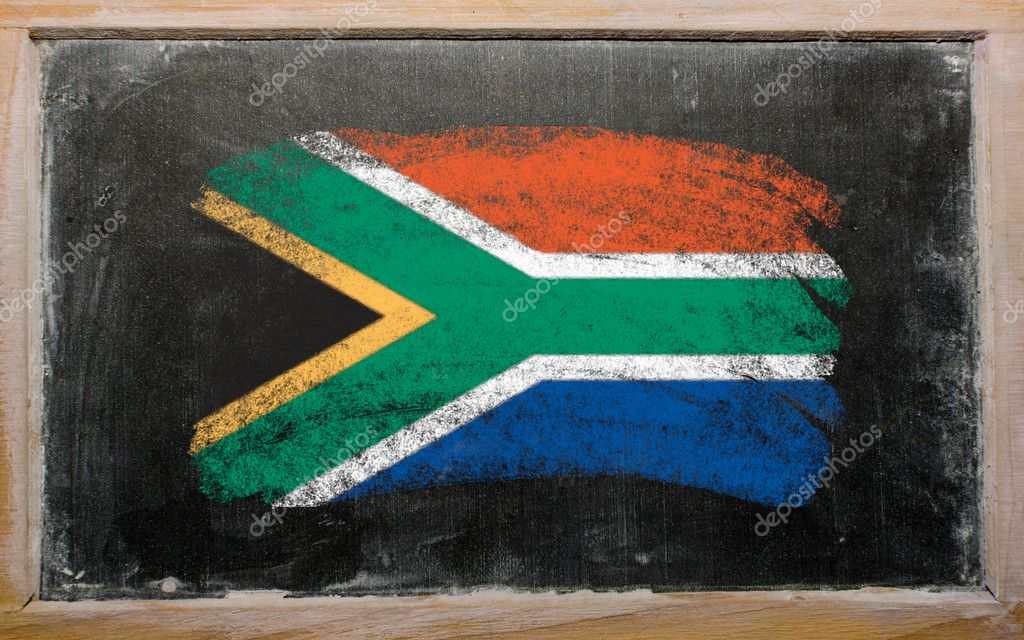 Chalky South african republic flag painted with color chalk on old blackboard — Stock Photo #6835630