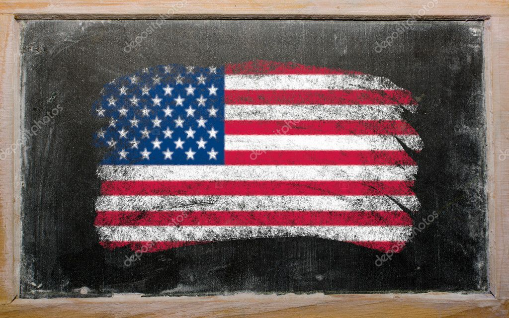 Chalky united states of america flag painted with color chalk on old blackboard — Stock Photo #6836284