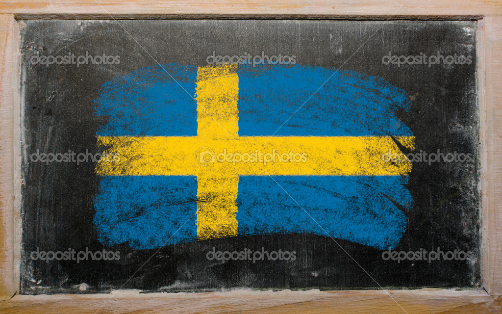 Chalky Swedish flag painted with color chalk on old blackboard — Stock Photo #6836304