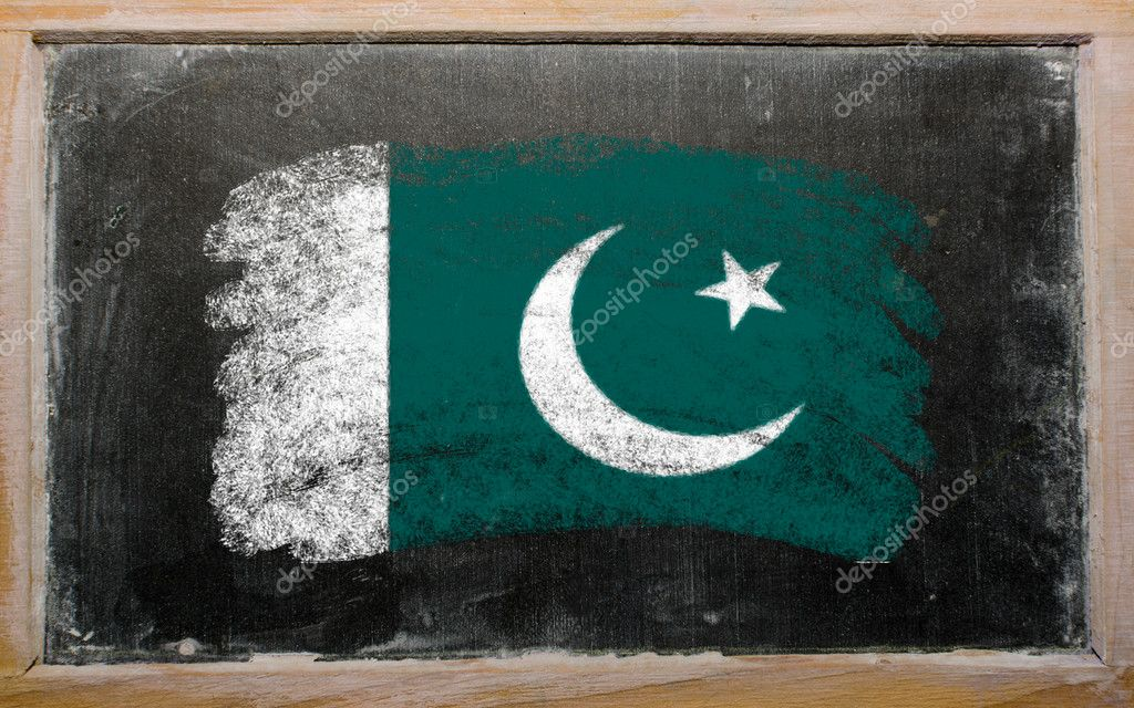 Chalky Pakistan flag painted with color chalk on old blackboard  Lizenzfreies Foto #6836989
