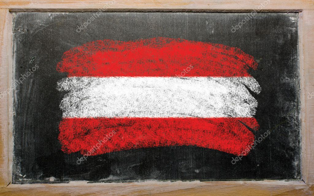 Chalky austrian flag painted with color chalk on old blackboard — Stock Photo #6837333